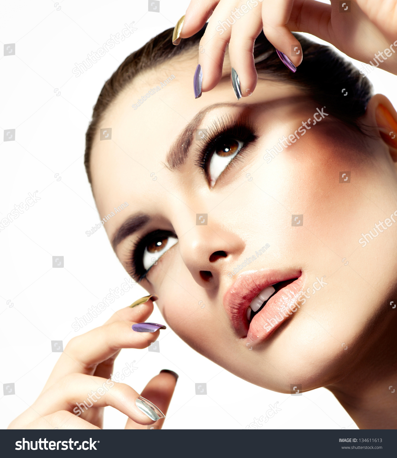 Fashion Beauty Model Vogue Style Glamour Woman Manicure And Make Up Nail Art Beautiful Girl