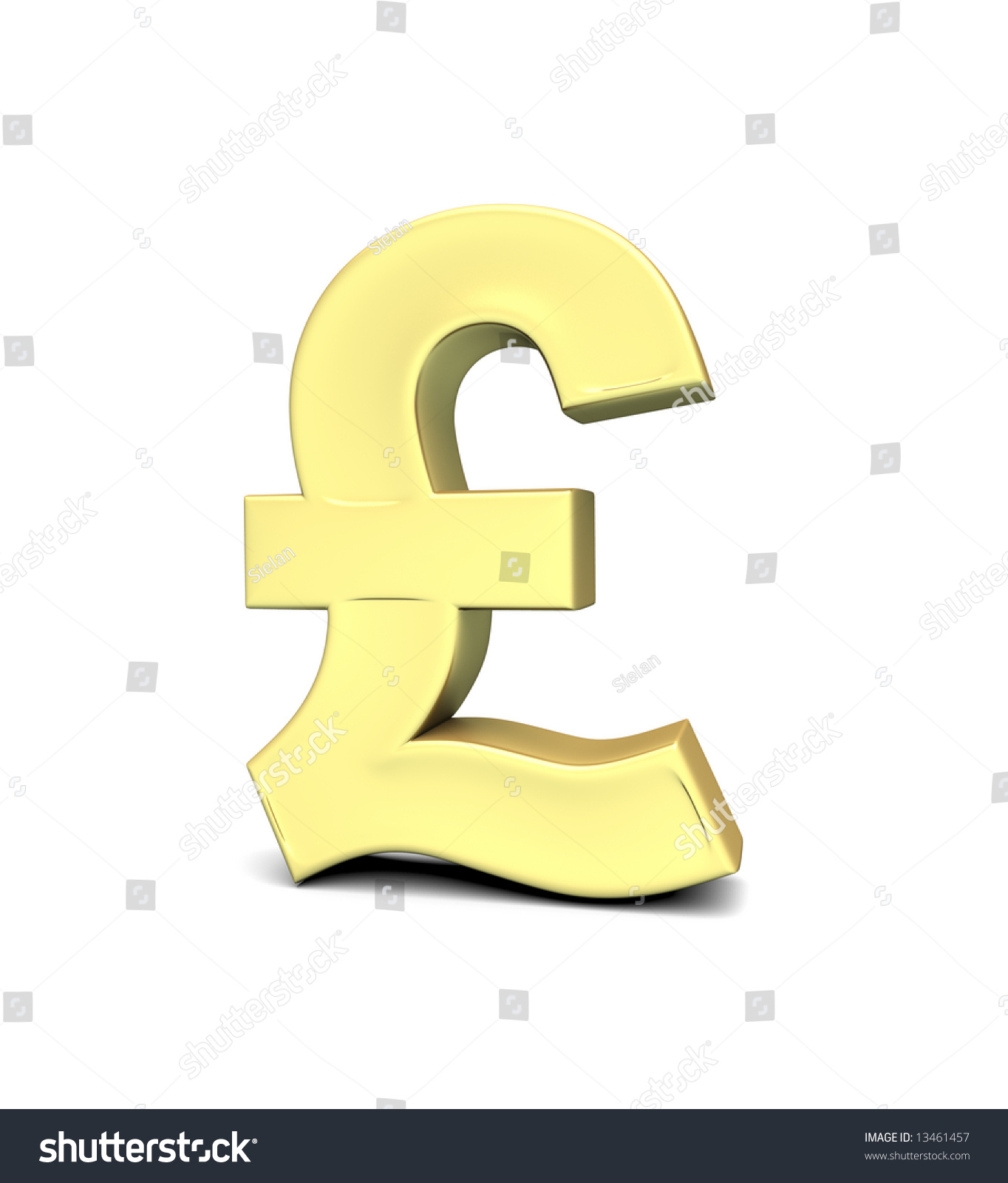 Pound Currency Symbol On White Background With Clipping Path 3d