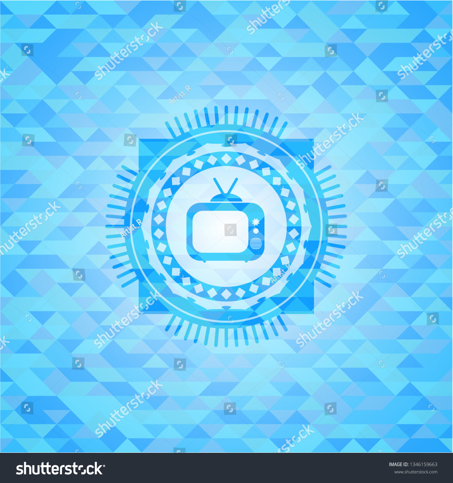 Old Tv Television Icon Inside Light Stock Vector (Royalty