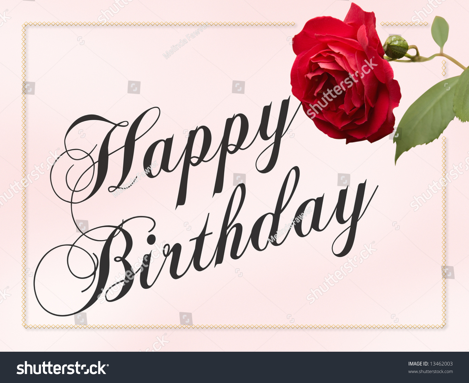 Happy Birthday Schriftart ~ Happy birthday card with red rose and border public domain free type stock photo