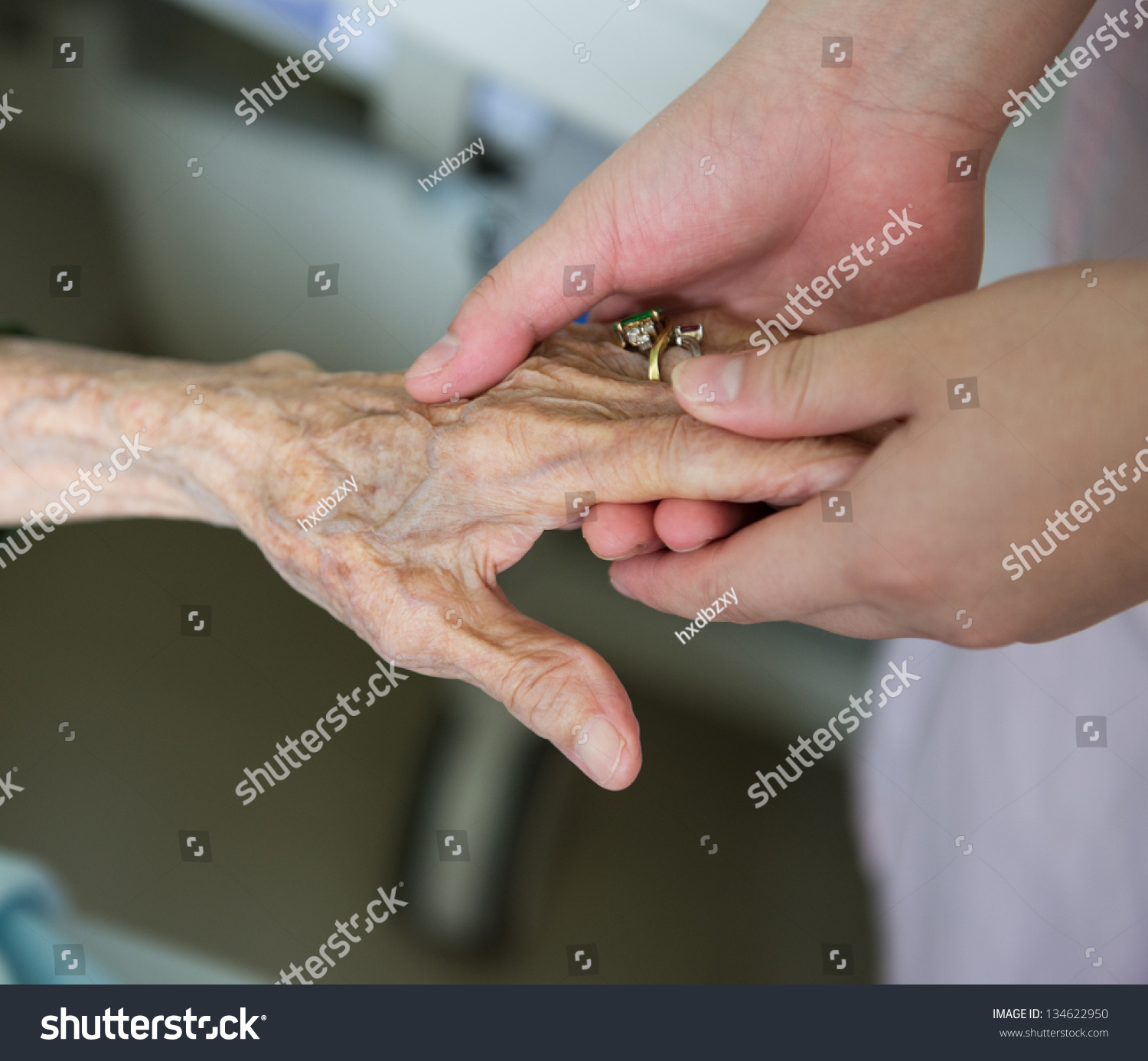 Young Girls Hand Touches Holds Old Stock Photo 134622950 ...