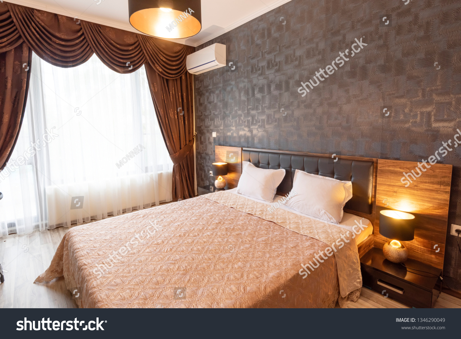 Classy Bedroom Interior Design Large Bed Stock Photo Edit Now 1346290049