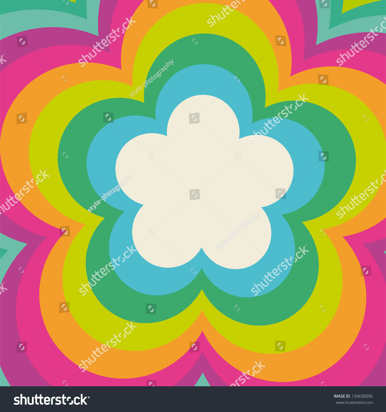 rainbow flower power cover design stock vector 134630096 shutterstock. Black Bedroom Furniture Sets. Home Design Ideas