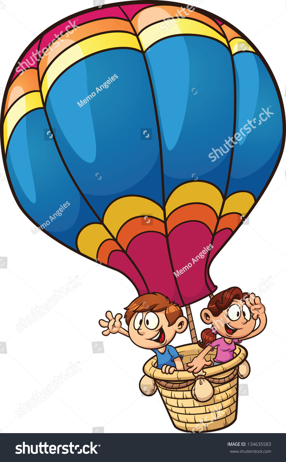 Cartoon Kids Riding Hot Air Balloon Stock Vektorgrafik Lizenzfrei