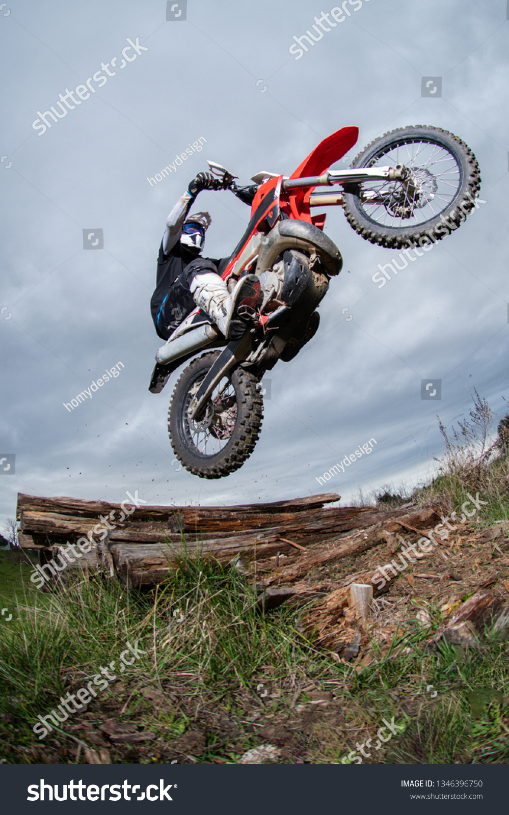 Enduro Bike Rider Action Obstacle Overcome Stock Photo Edit