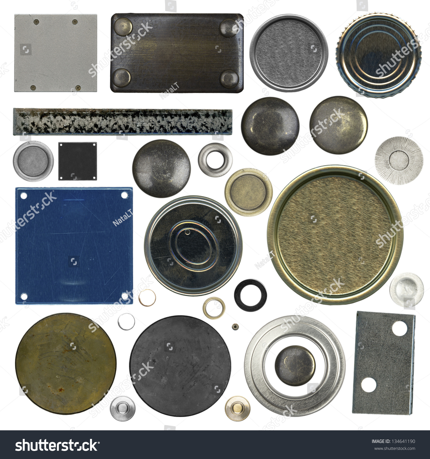 Bolt Head Types >> Set Different Types Metal Plates Isolated Stock Photo ...
