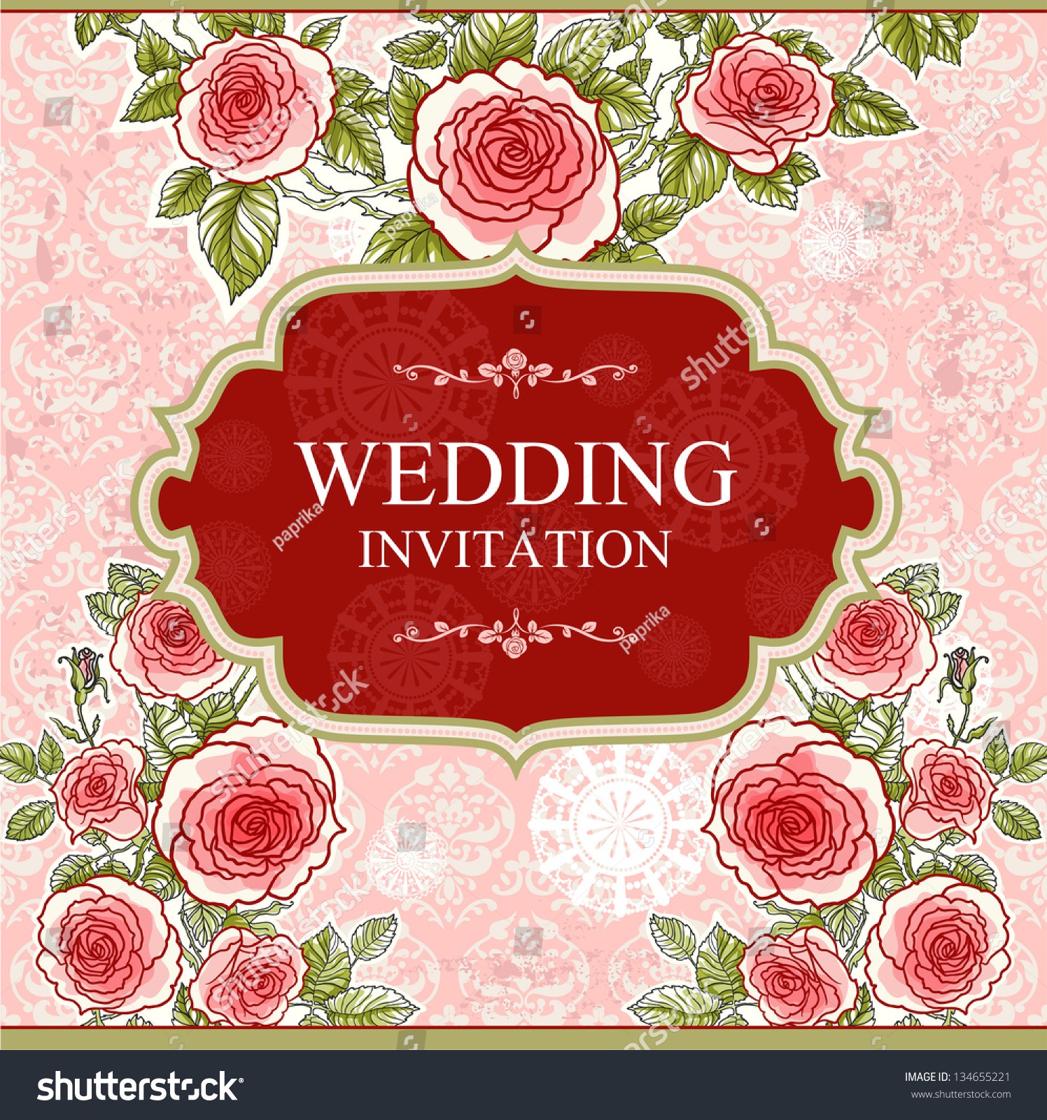 Wedding vintage background with roses with space for text | EZ Canvas