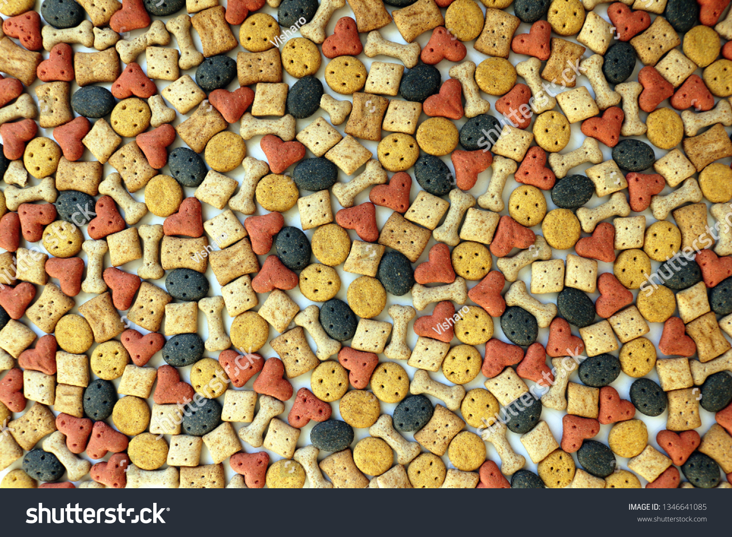 Background Texture of Various Dog Biscuits #1346641085
