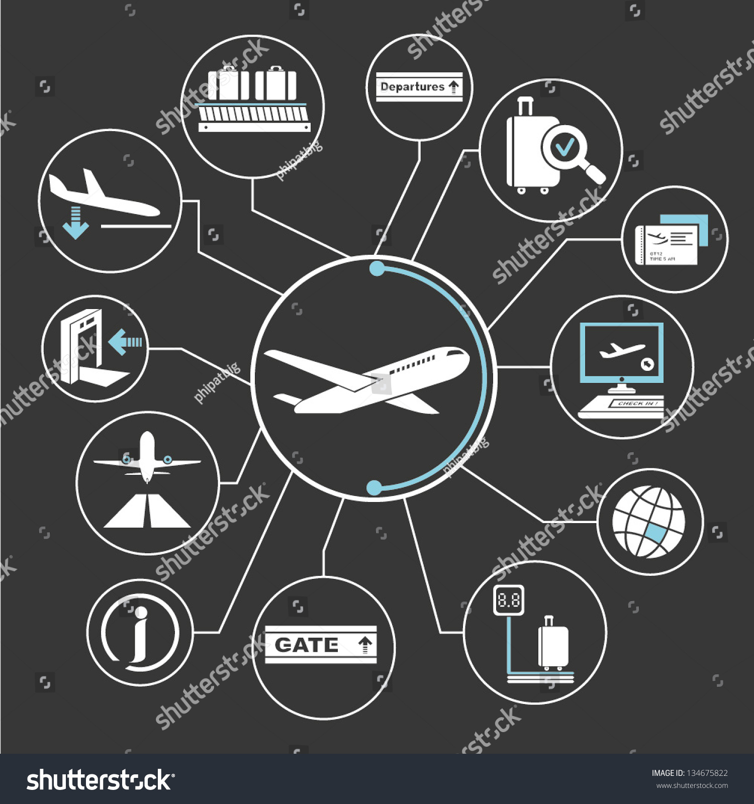 Airport mind map info graphics stock vector illustration 134675822 shutterstock - Jabsin design ...