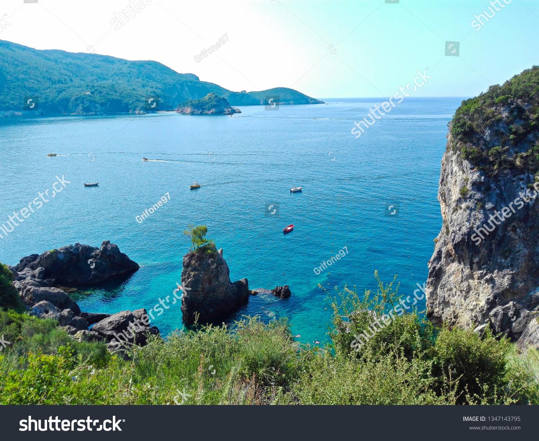 Vegetation and sea of the Island of Corfù, Greece.