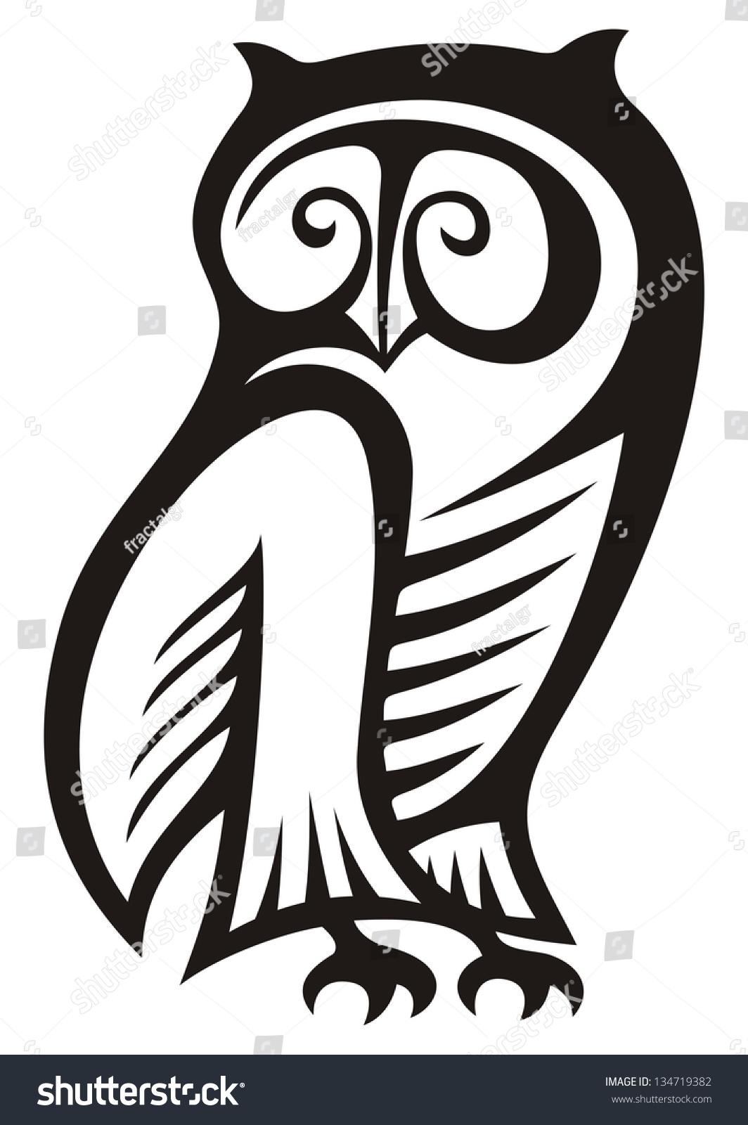 Black White Owl Symbol Wisdom Wealth Stock Illustration 134719382