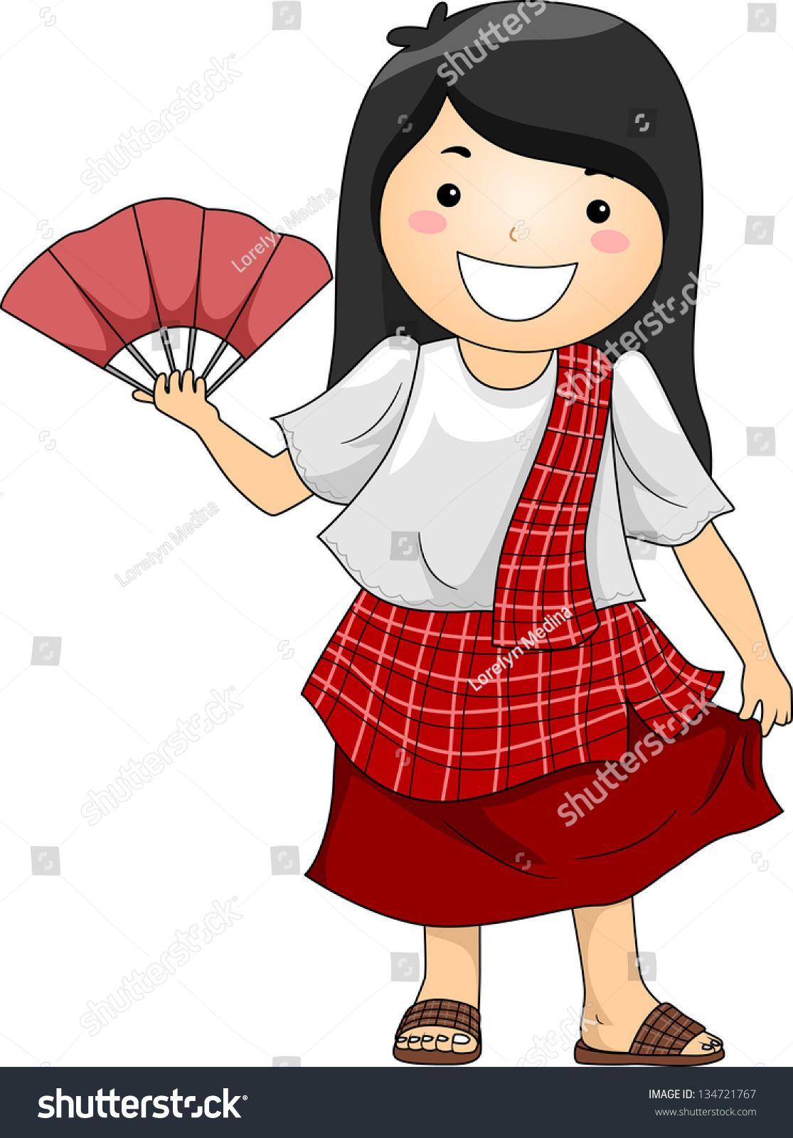 Illustration Happy Little Girl Wearing Traditional Stock ...
