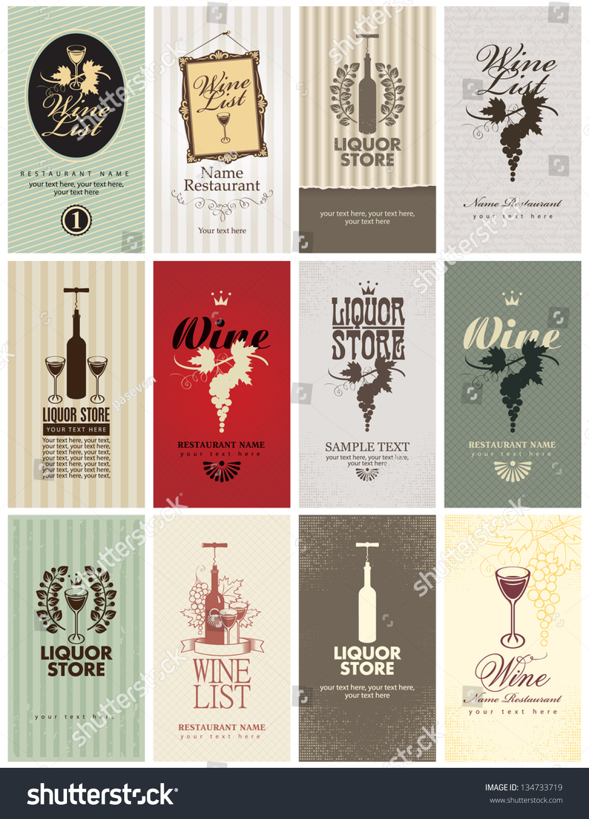 Set Business Cards On Wine Stock Vector 134733719 - Shutterstock