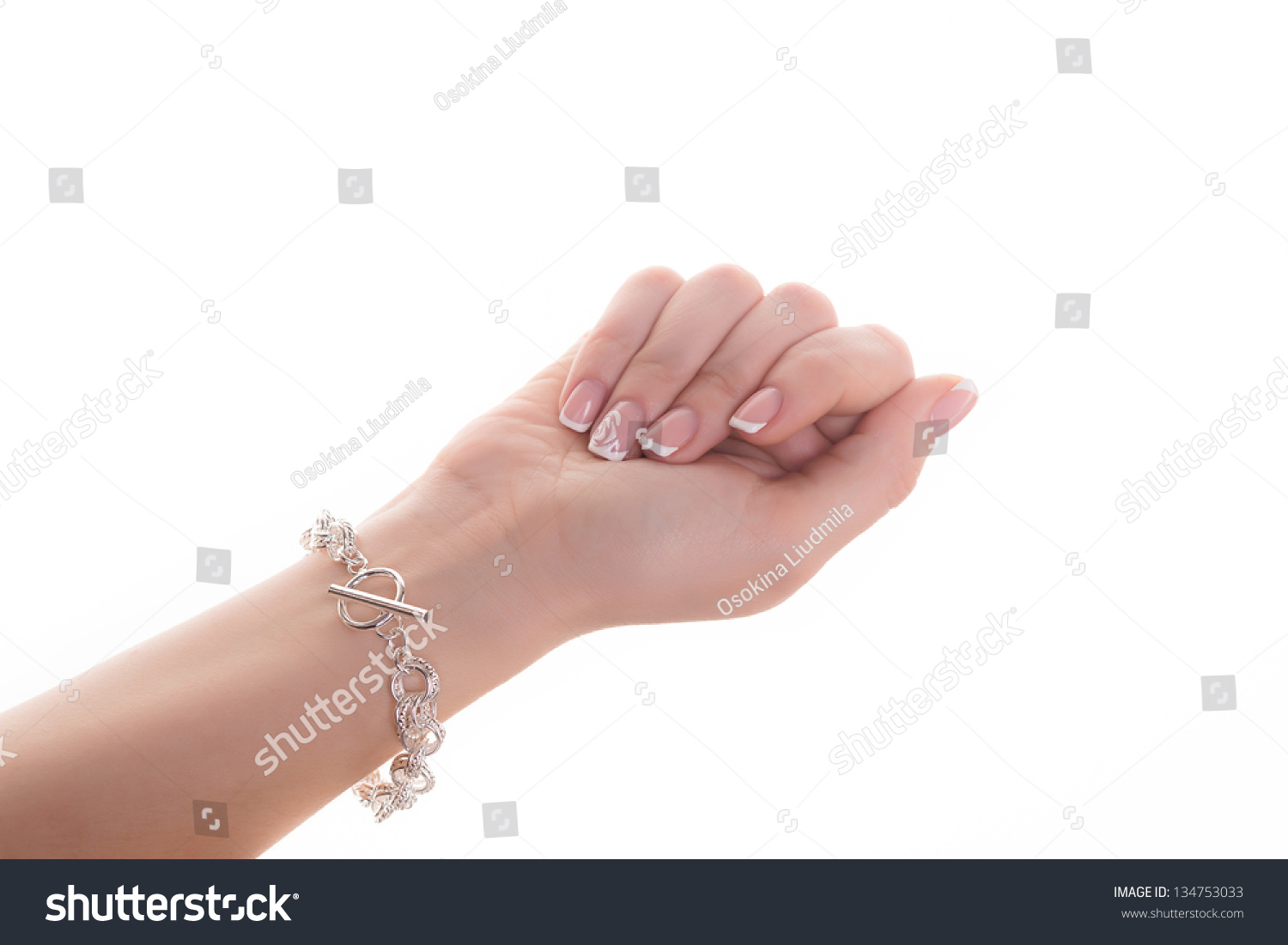 Womans Hand French Manicure Silver Bracelet Stock Photo (100% Legal ...