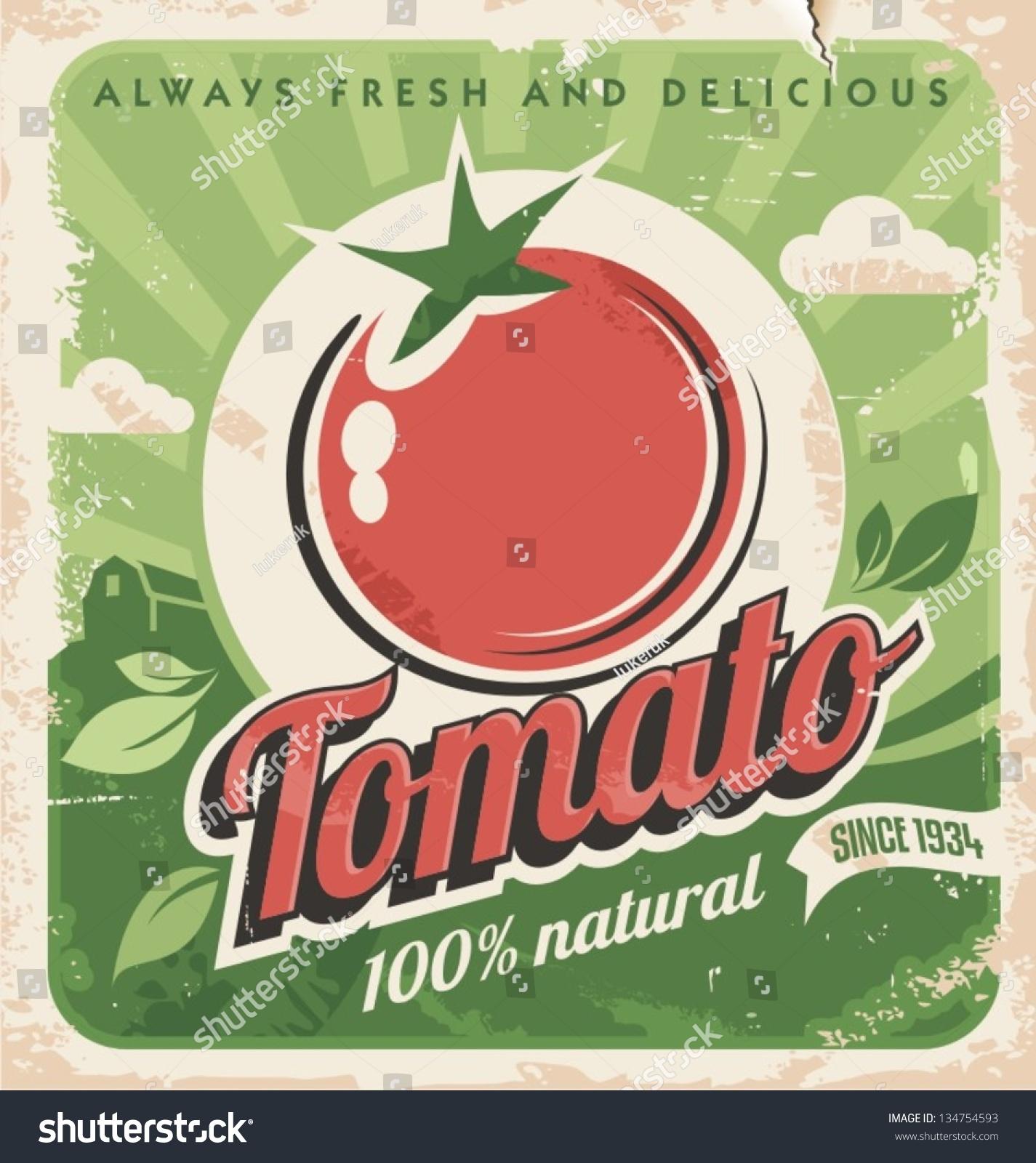 vintage poster template tomato farm retro のベクター画像素材
