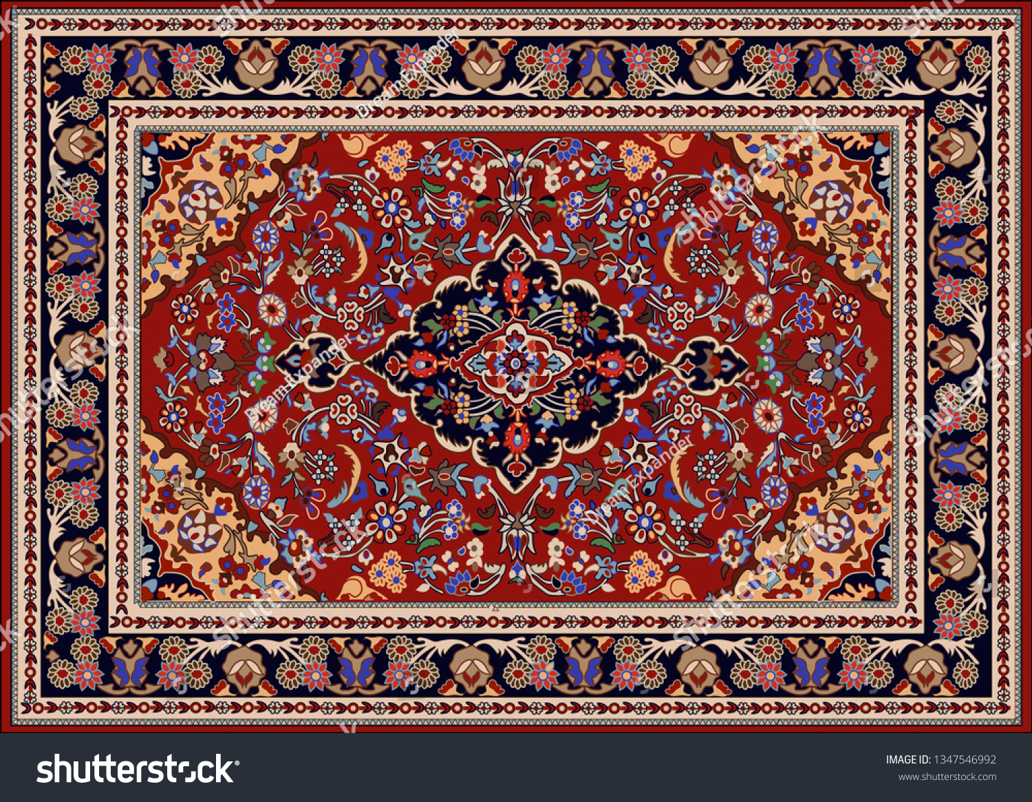 Vector Persian Carpet Tribal Background Stock Vector