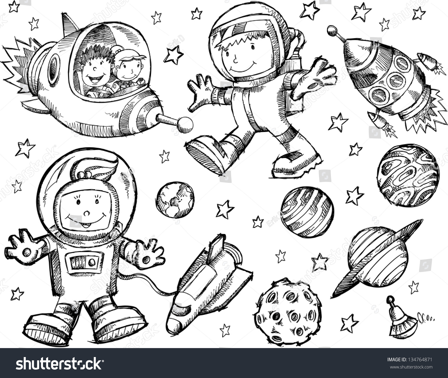 Cute Sketch Drawing Doodle Outer Space Vector Set