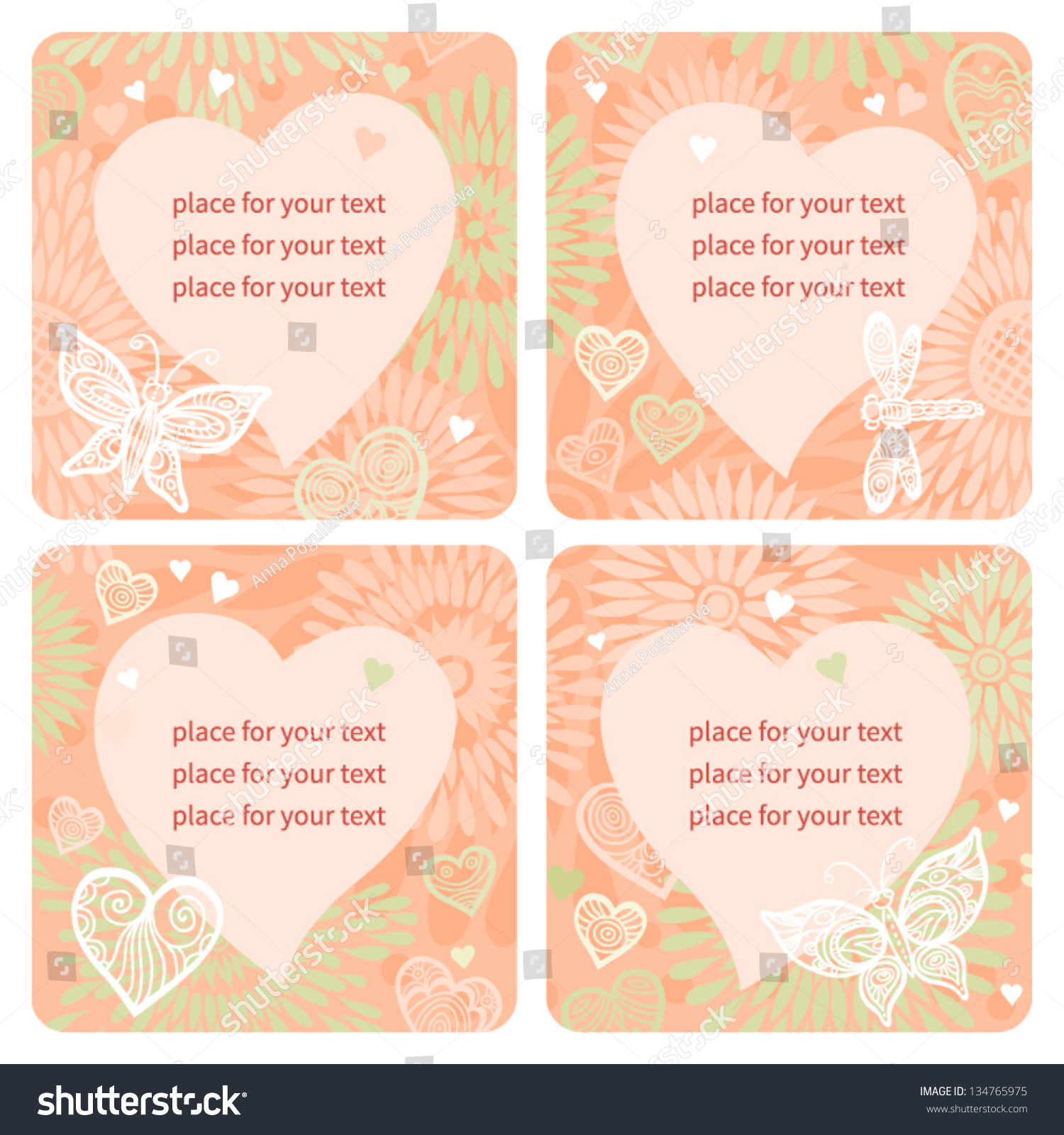 ... , butterflies and a place for text. Template frame design for card