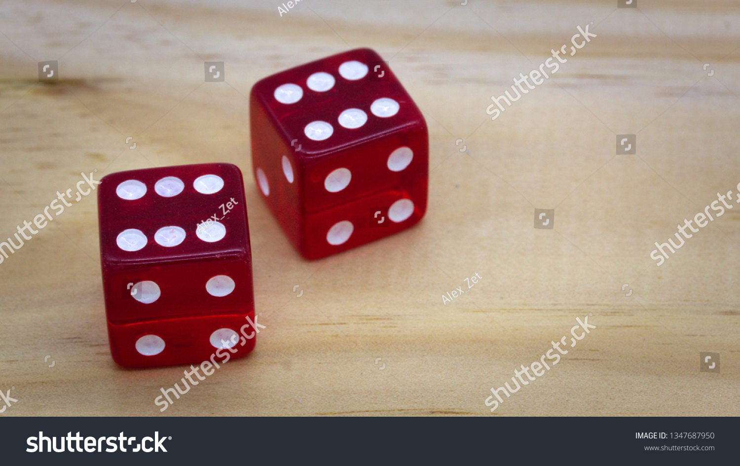 Red dice isolated on a white background #1347687950