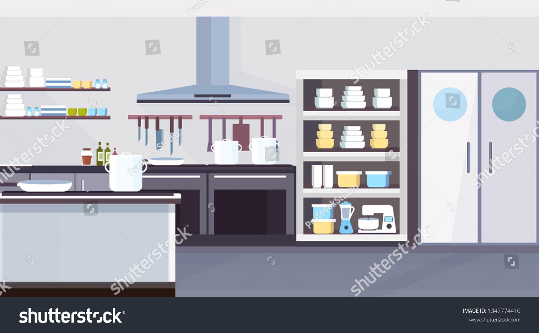 Modern Commercial Restaurant Kitchen Interior Design Stock Vector Royalty Free 1347774410