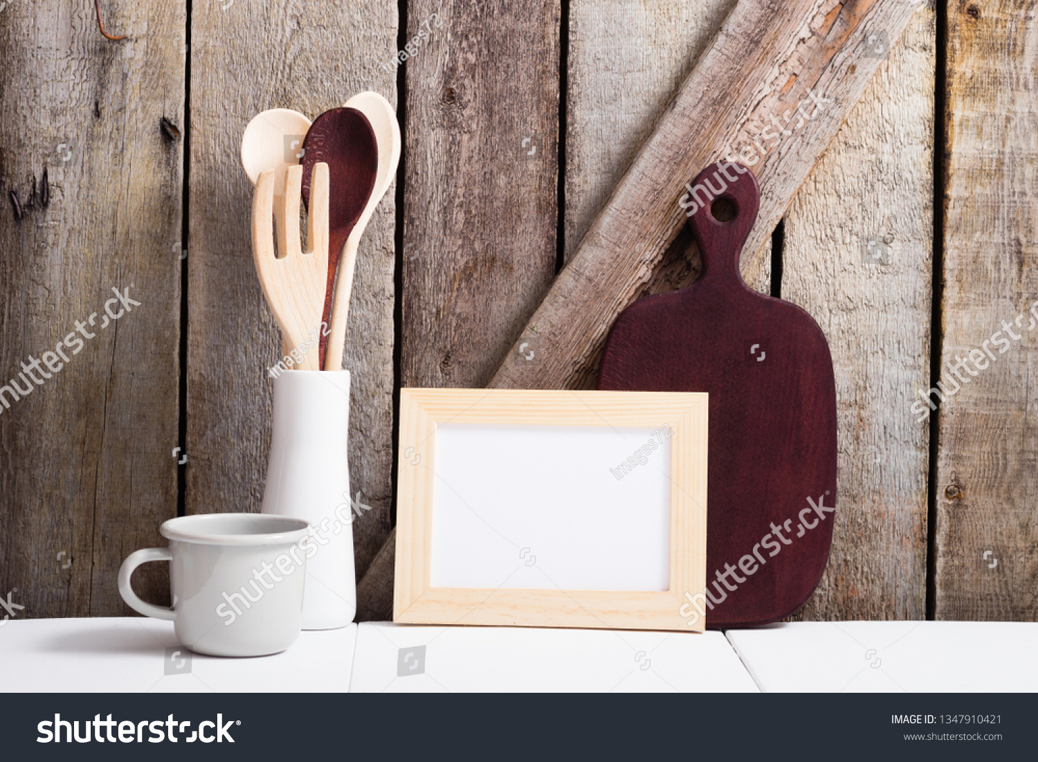 Picture Frame Cutting Board Old Wood Stock Photo Edit Now 1347910421