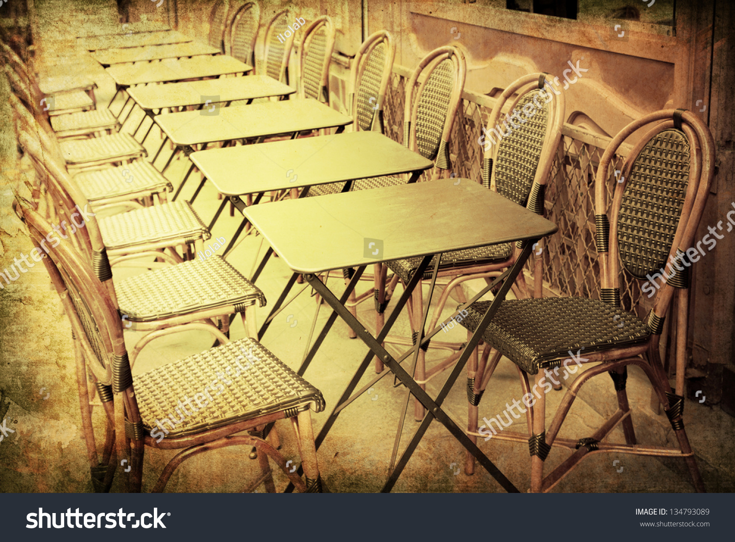 Old Fashioned Coffee Terrace With Tables And Chairs Paris France Stock Photo 134793089