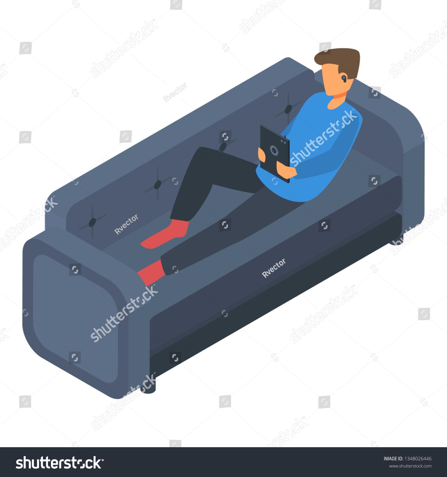 Boy Freelancer Sofa Icon Isometric Boy Stock Illustration