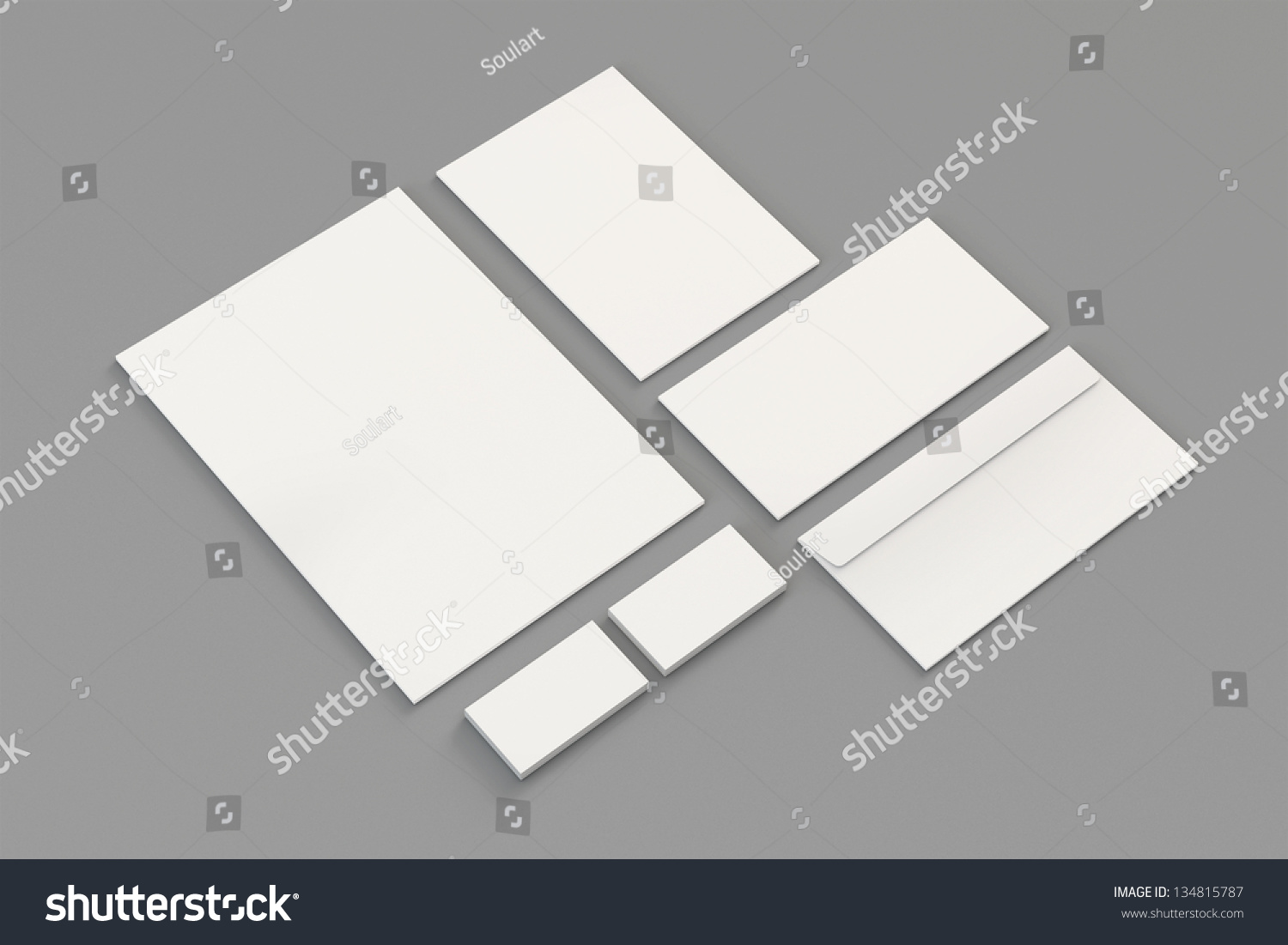 Blank A4 Paper Business Cards Letterhead Stock Illustration ...