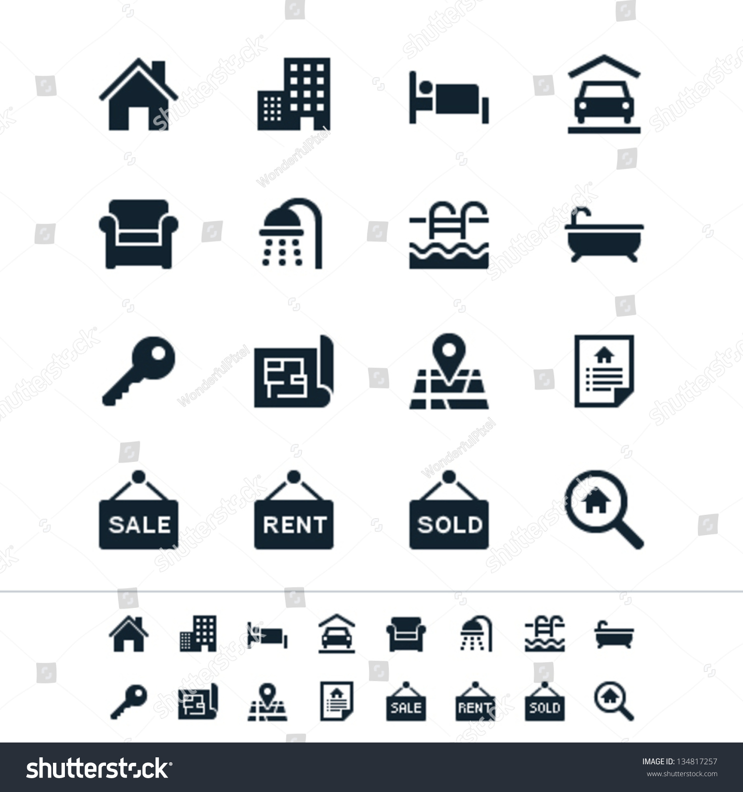 Real Estate Icons 134817257 on Plan View Furniture Clip Art