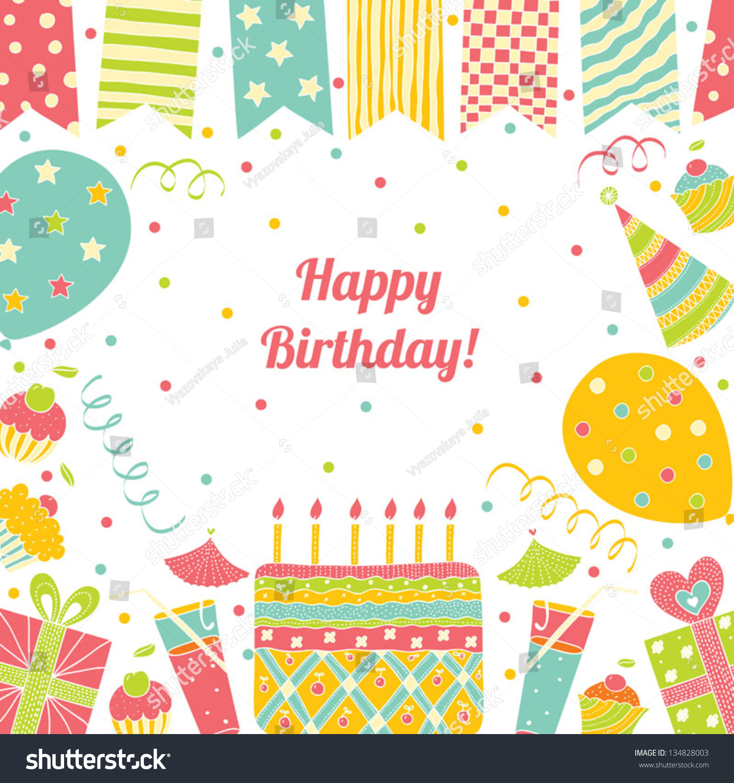 Template Happy Birthday Card Place Text Stock Vector