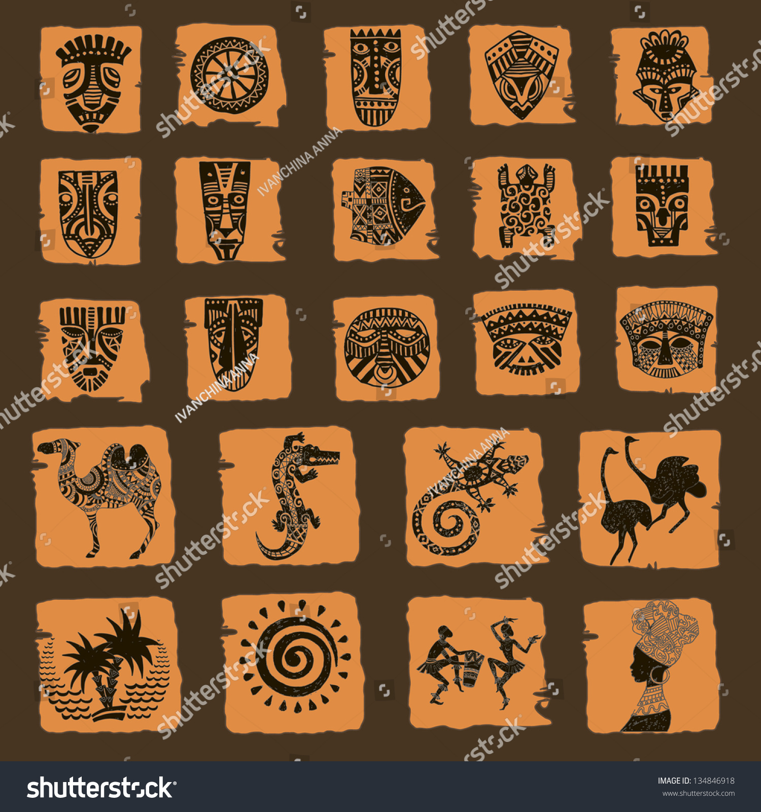 african seth african infographics tribal set stock vector 134846918 shutterstock. Black Bedroom Furniture Sets. Home Design Ideas