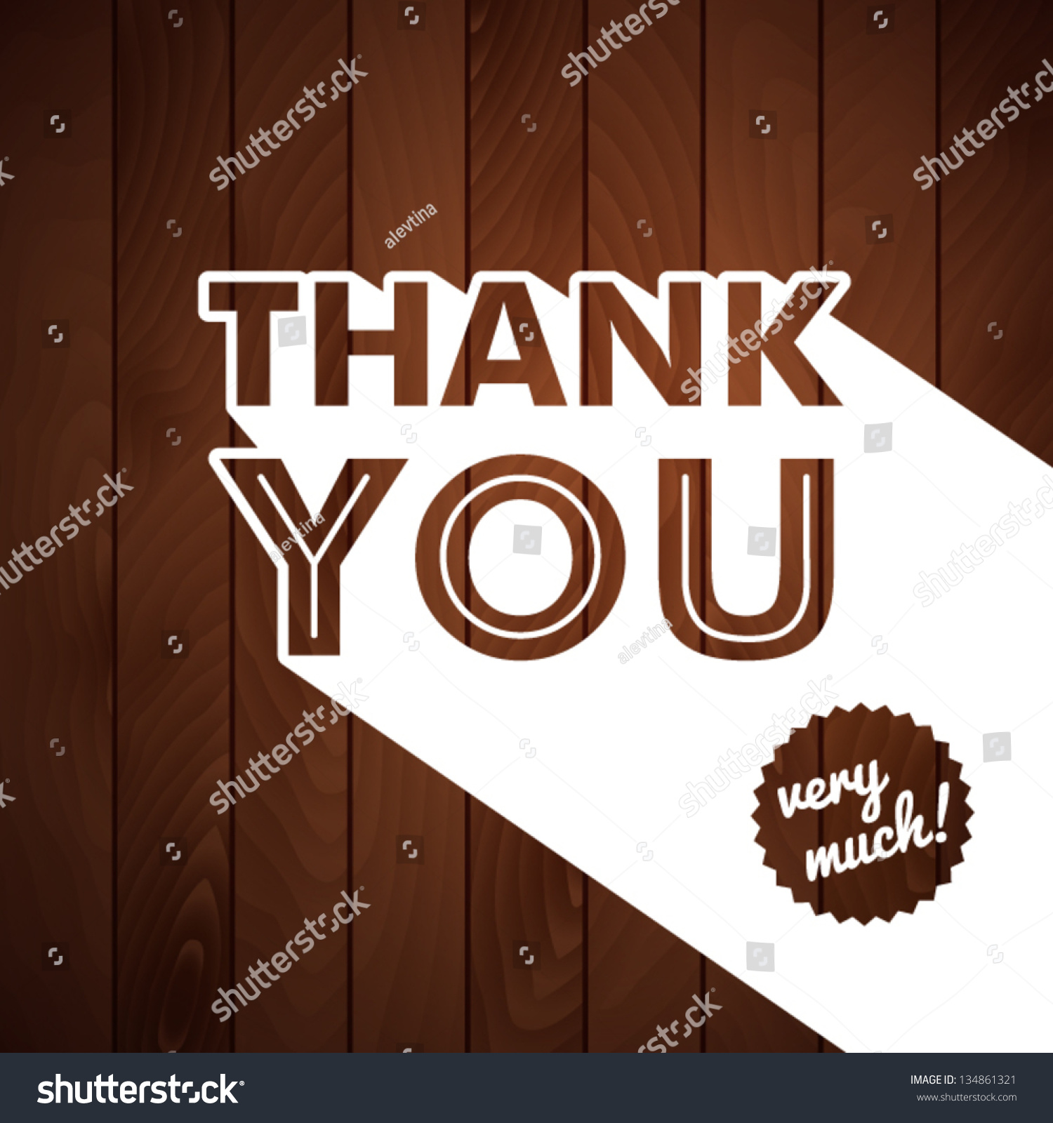Thank You Card With Typography On A Wooden Background