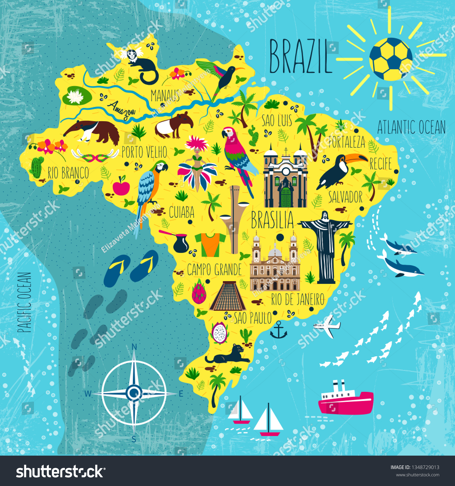 Picture of: Brazil Illustrated Map Vector South America Stock Vector Royalty Free 1348729013