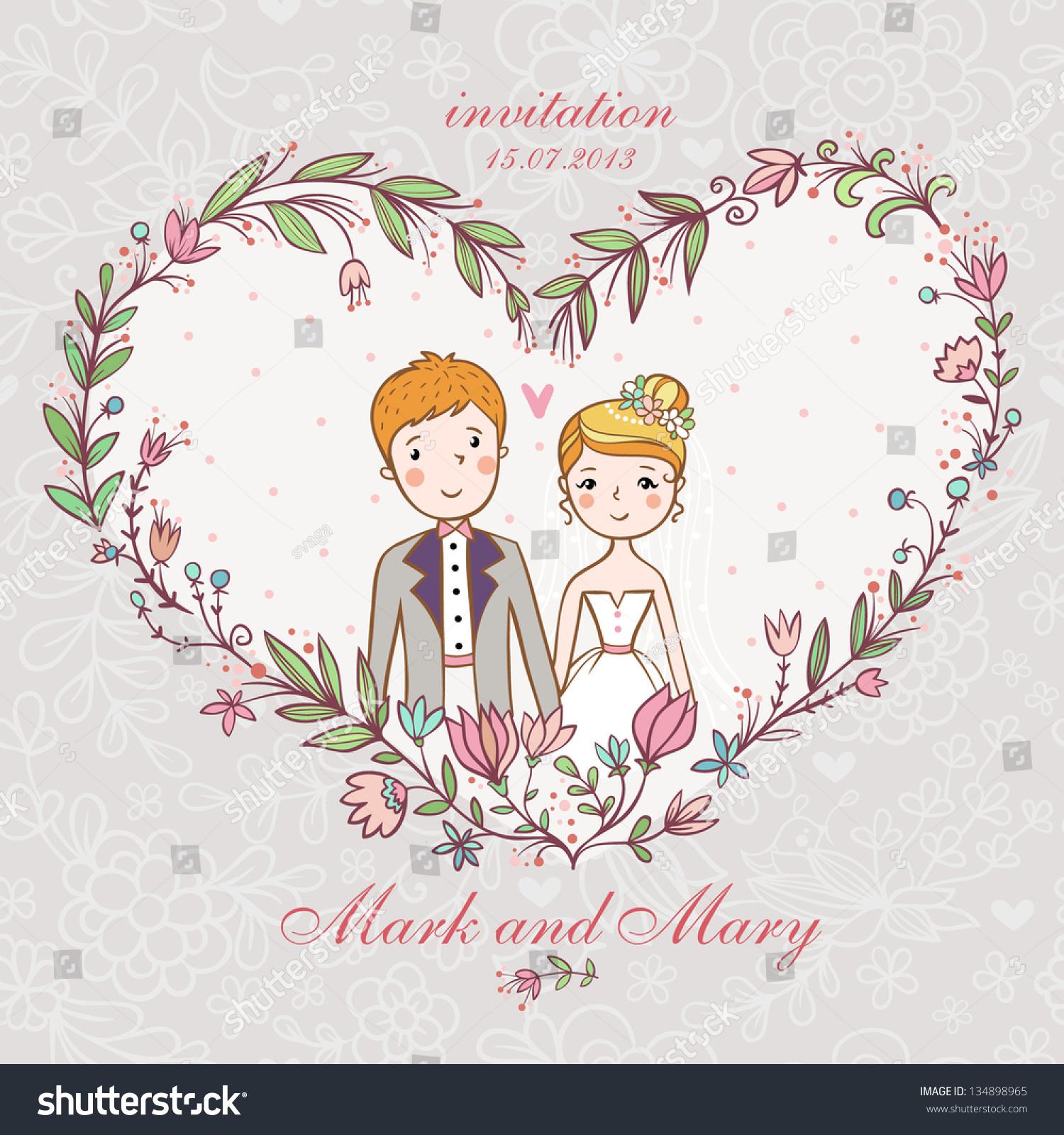 Cartoon Concept Marriage Wedding Invitation Bride Stock