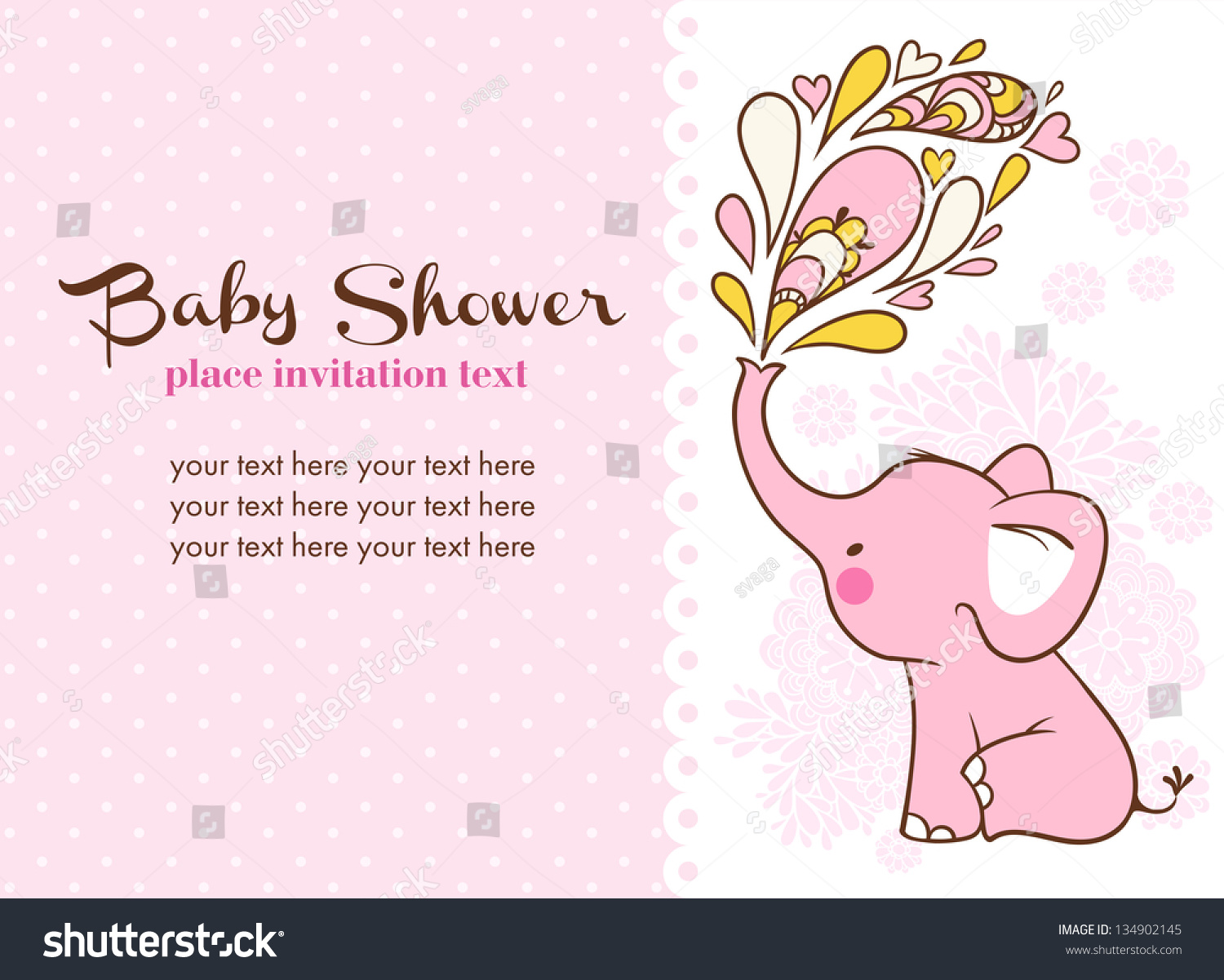 Baby Shower Invitation Card Stock Vector 134902145 Shutterstock