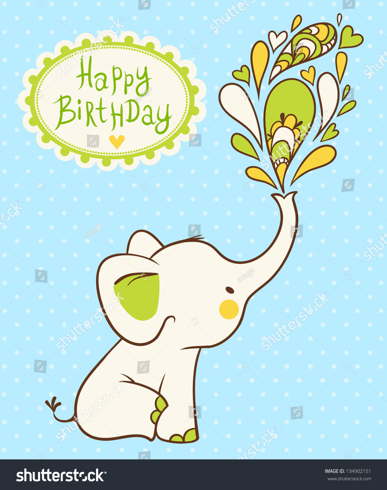 Happy Birthday Card Cartoon Elephant Wishes Stock Vector