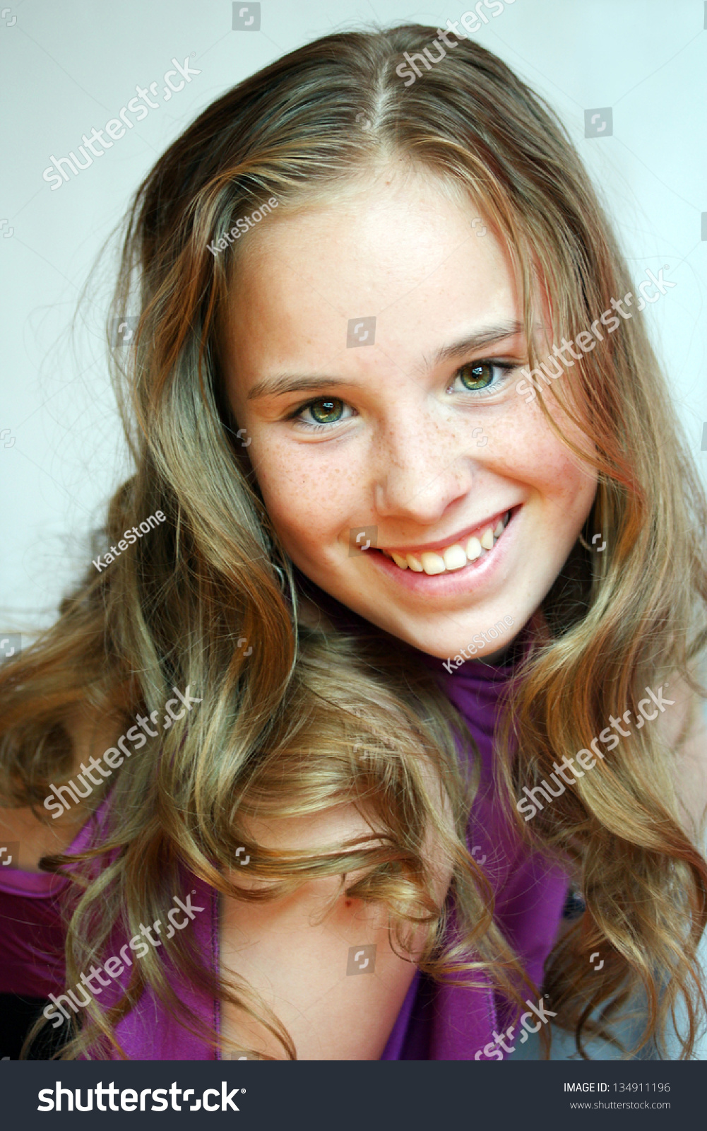Beautiful Blondhaired 13Years Old Girl Portrait Stock Photo 134911196 -6989