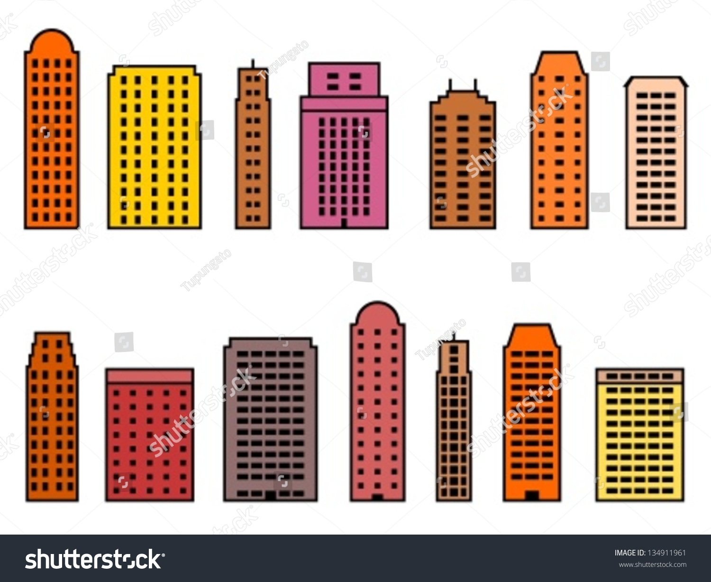 Building Collection Simple Skyscraper Illustrations Stock Vector