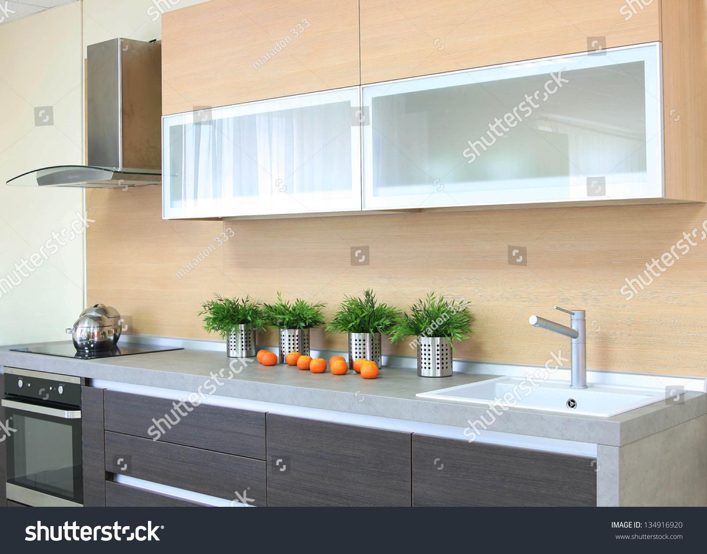 Luxury Wooden Brown Modern Kitchen Stock Photo 134916920