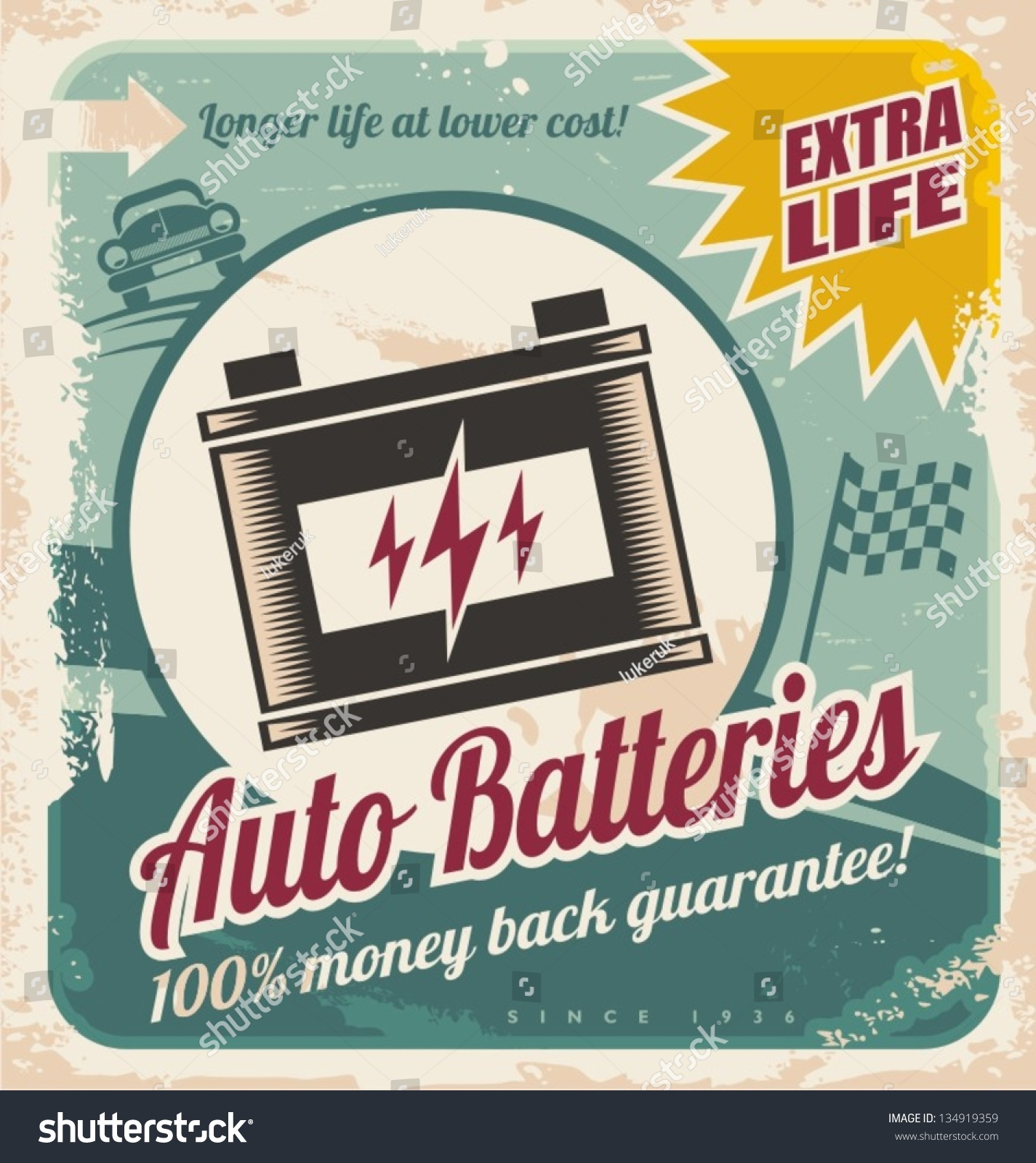 Parts of a poster design - Retro Auto Batteries Poster Design Vintage Background For Car Service Or Parts Shop