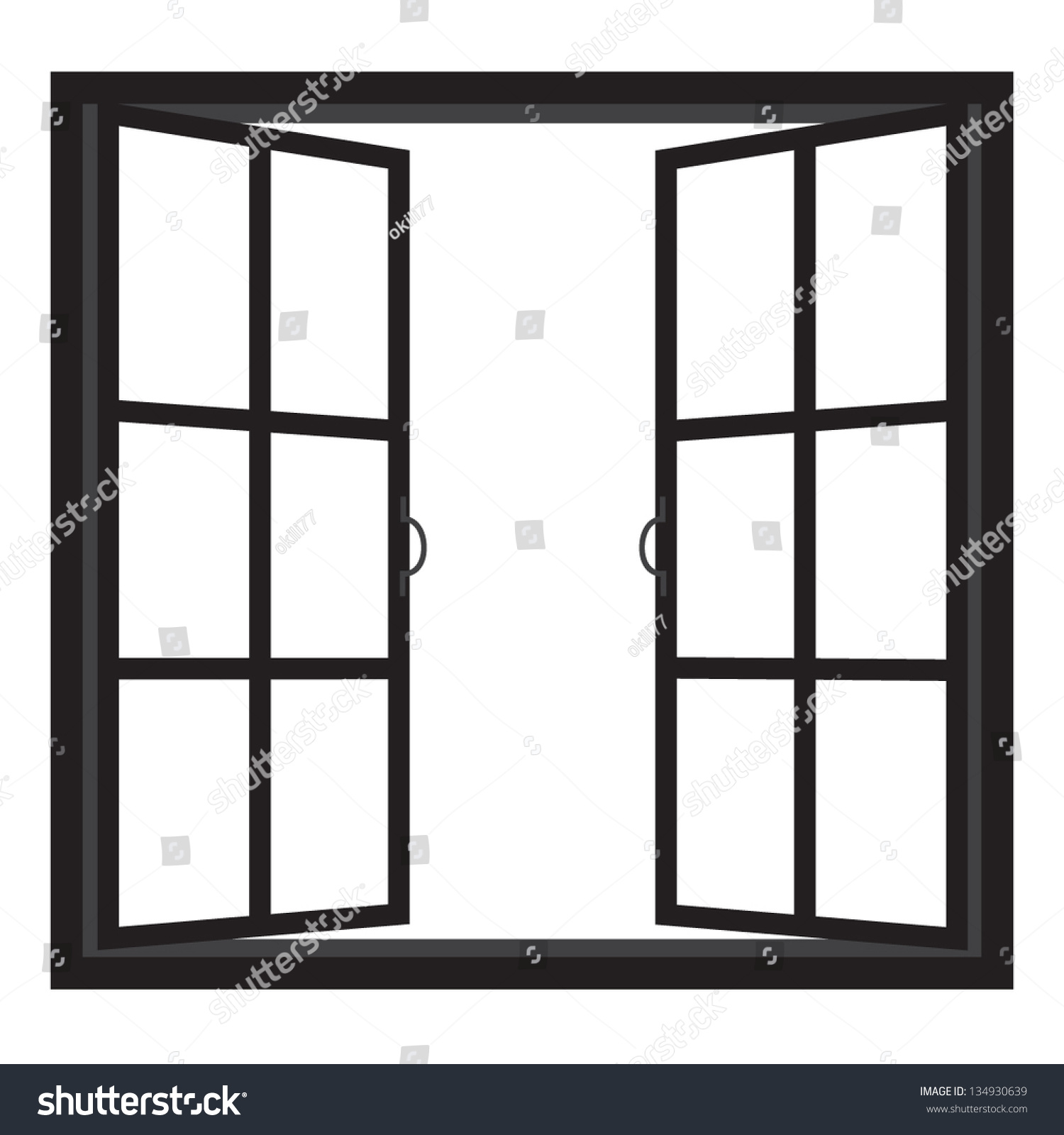 Windows half open window vector 134930639 shutterstock for Window design clipart