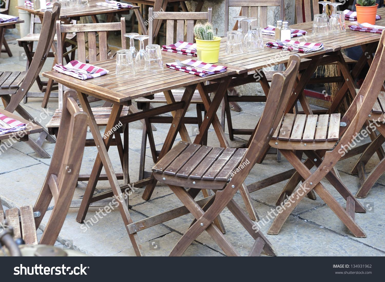 table terrace restaurant in france stock photo 134931962 shutterstock. Black Bedroom Furniture Sets. Home Design Ideas