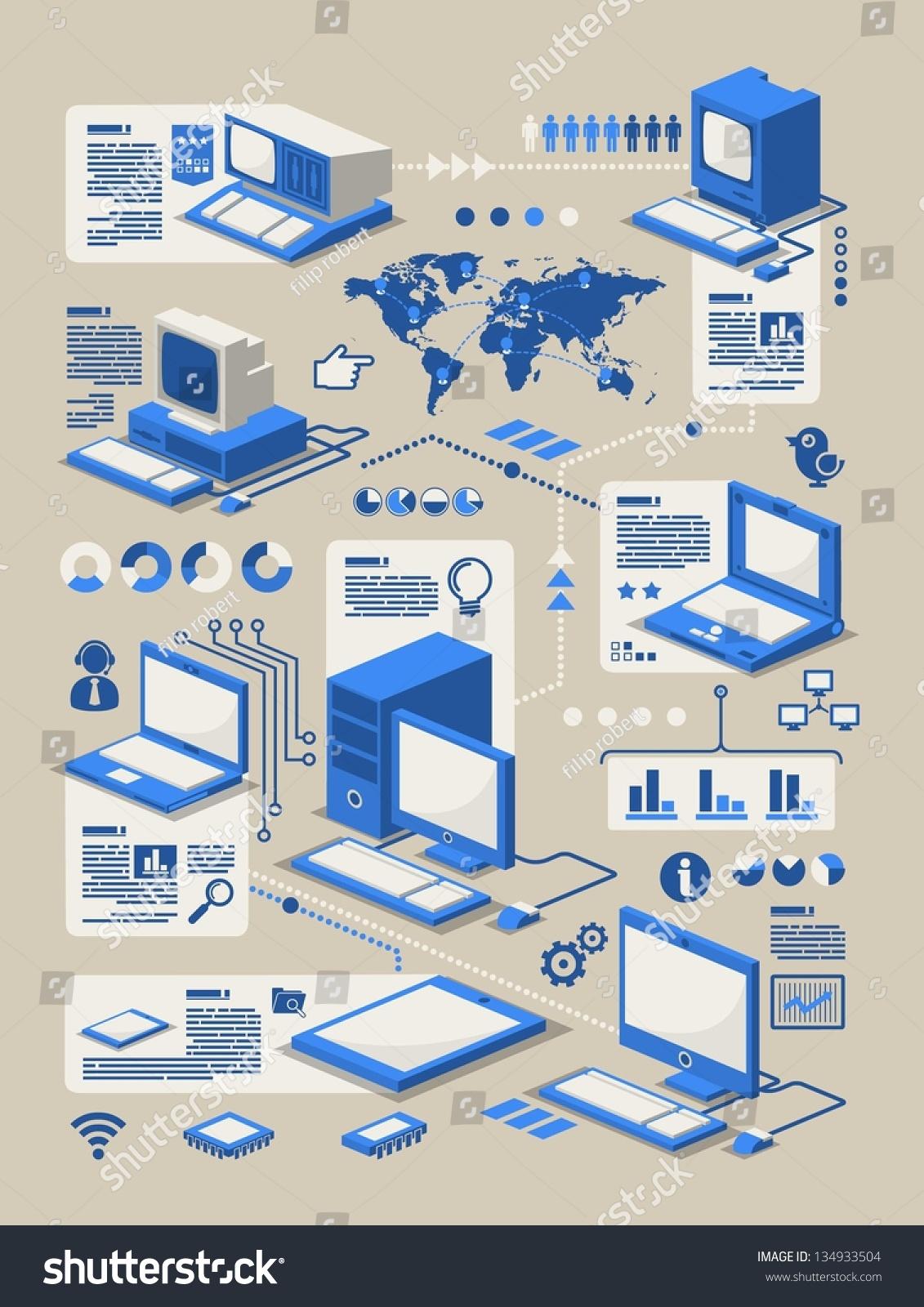 Computer Evolution Info Graphicvector Background Stock Vector ...