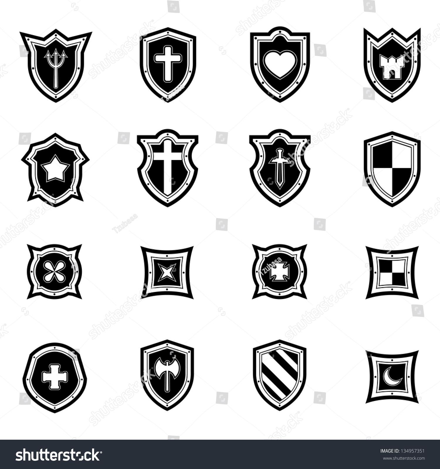 Shield Icon Set Black And White Stock Vector Illustration 134957351 ...