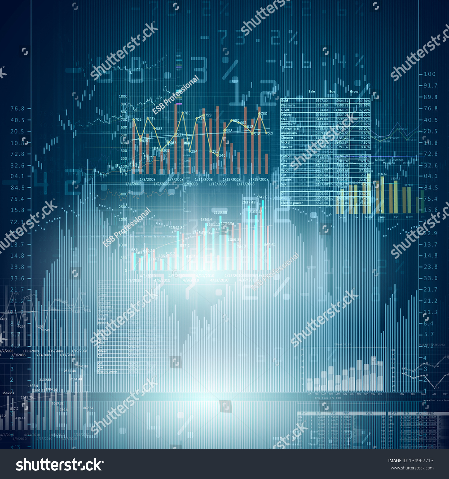 Abstract High Tech Background Graphs Diagrams Stock Illustration ...