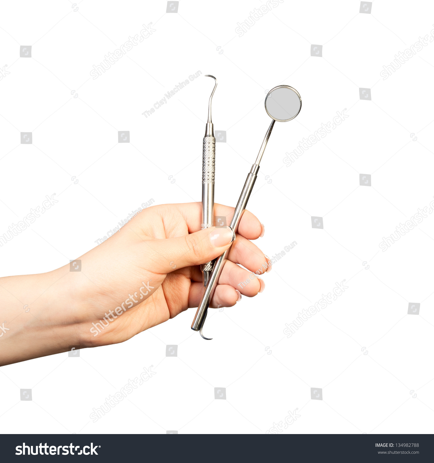 hand holding mirror drawing. Dentist Hand Holding Dental Instruments. Mirror And Probe. Isolated On A White Drawing M