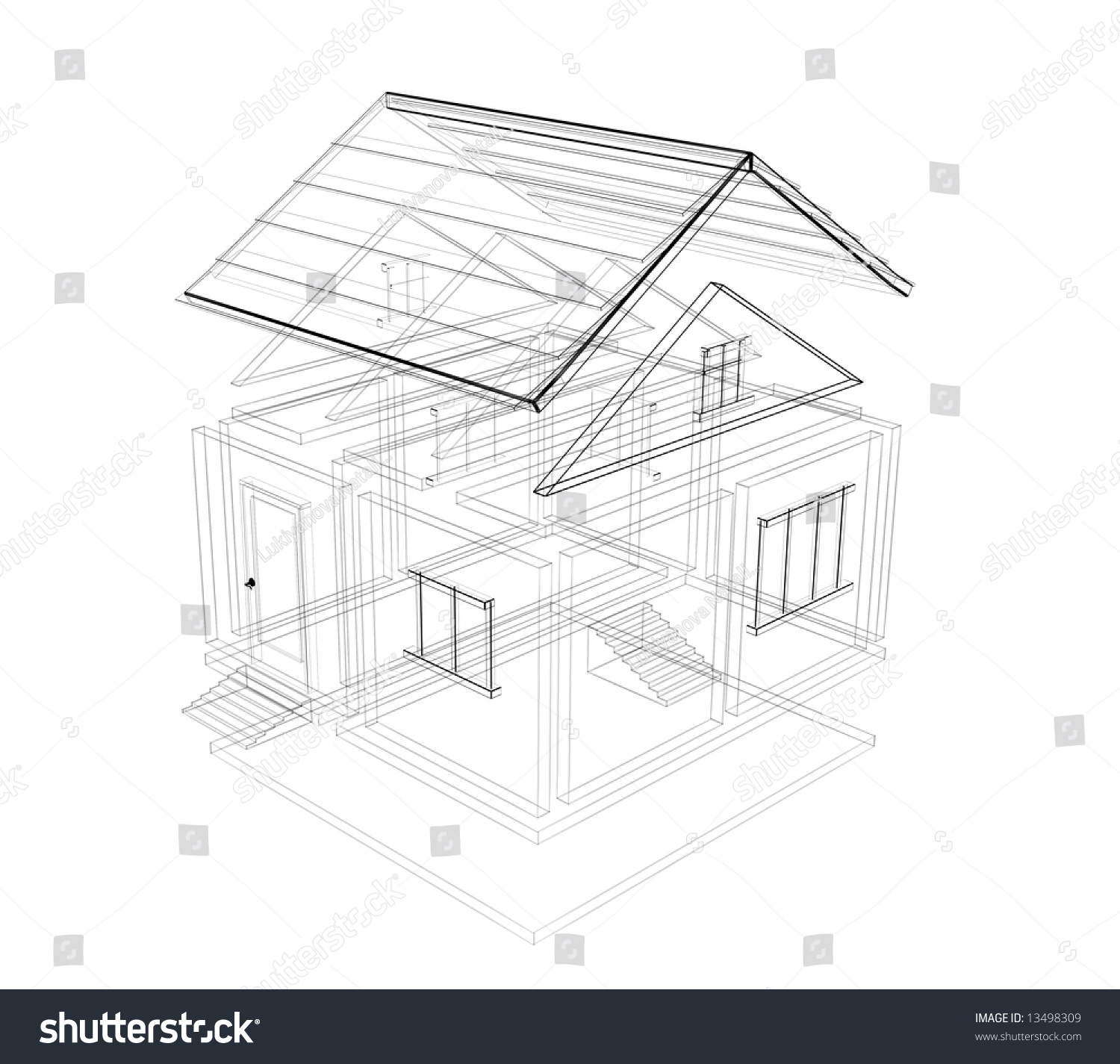 100 House 3d Technical Draw Stock Perspective