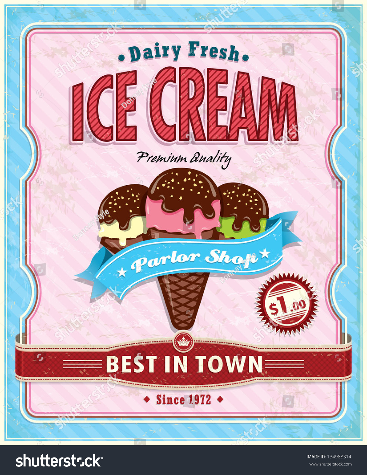 Vintage Ice Cream Poster Design Stock Vector 134988314 - Shutterstock