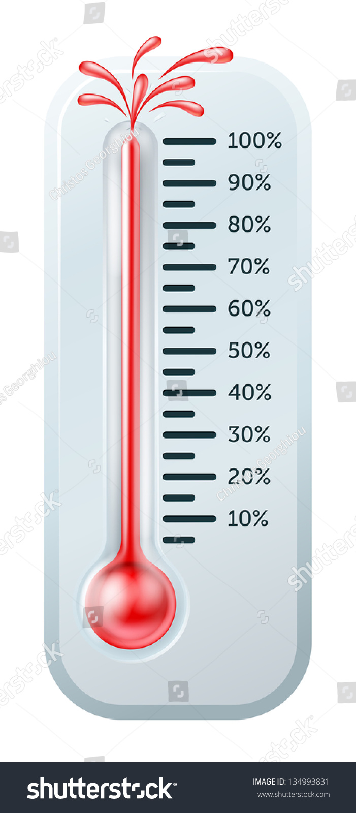 illustration of a thermometer with the red alcohol bursting through the top