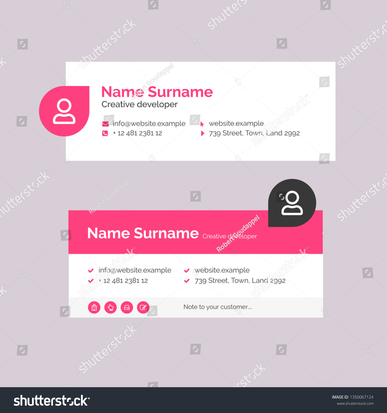 Vector Illustration Corporate Email Signature Design Stock Vector Royalty Free 1350067124
